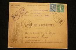 Perfin Lochung Semeuse Roulette Poko N°159e Perforé TP45 Sur Devant Lettre Parfumerie Pilter Paris 1927 - France