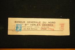 Perfin Lochung Semeuse Roulette Poko N°140 Perforé VD18 Sur Fragment + EMA 1927 Verley Delcroix Lille - France