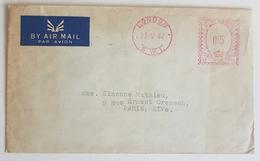 """1947 Coovers, London """"Dunlop Rubber"""" Co Ltd - Paris France, Par Avion, Air Mail, AOF - 1902-1951 (Könige)"""