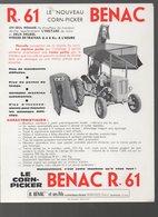 Berdoues (32 Gers) Prospectus BENAC  R61 Corn Picker (matériel Agricole) (PPP9939) - Advertising