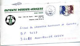 Lettre Cachet Vergeze Entete Football Illustré Eau Perrier - Marcophilie (Lettres)