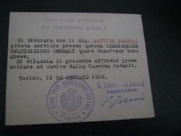 TESSERA COMMISSIONE PROVINCIALE PER REQUISIZIONE GRANO T 1919 - Historical Documents