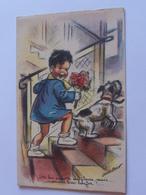 """Bouret Germaine  """" On Lui Apporte Des Fleurs Mais..on Va Bien Bouffer!.."""" Enfant Garcon Chien  M D PARIS  1949 - Bouret, Germaine"""