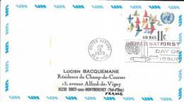 Onu, United Nations, Nations Unies,new York, Entier Postal 1973, Env Fdc,11c , Poste Aérienne,oiseaux,air Mail, 165x93 - Lettres & Documents