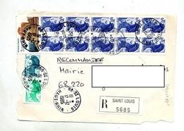 Devant De Lettre Recommandee Saint Louis Sur Marianne Variete Trait Couleur - Marcophilie (Lettres)