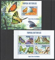 VV963 2013 MALDIVES FAUNA & FLORA INSECTS TROPICAL BUTTERFLIES KB+BL MNH - Papillons