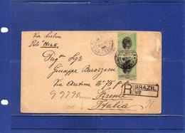 ##(ROYBOX1)-Postal History-Brazil 1905-Registered Cover From Rio De Janeiro To Firenze-Italy Via Lisbon,tondo Riquadrato - Brasile