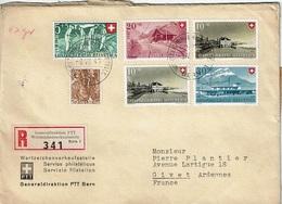 """T.P. 294+437/40 S/L.Rec. """"Generaldirektion PTT"""" De BERN (6-VII-47) à GIVET (France) + Bande De Fermeture - Suisse"""