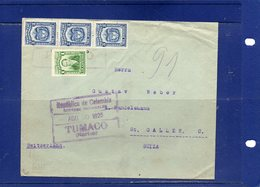 ##(ROYBOX1)-Postal History-Colombia 1925-Cover From Pasto-Tumaco To Switzerland - Colombia