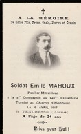 Vendresse (Aisne ) - Fusilier -mitrailleur Tombé Au Champ D'Honneur -16 Avril 1917 - Décès