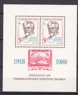1988 Czechoslovakia  Alfons Mucha (Mi Block 87 ) S/S-MNH - Expositions Philatéliques