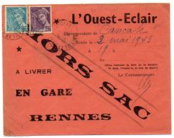 France N° 413 Et 538 Mercure  Y. Et T. Cachet A4 Cancale Ille Et Vilaine Hors Sac Du 03/05/1943 - Poststempel (Briefe)