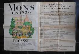 Affiche Originale Mons En 1830 Avec Programme Ducasse Avril 1948 - Historical Documents