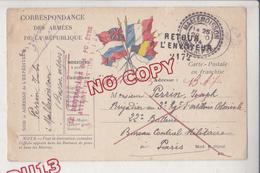 Au Plus Rapide Carte Franchise Correspondance Armées Mallemoisson Retour Envoyeur Le Destinataire N'a Pu être Atteint .. - 1914-18