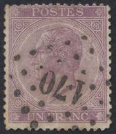 """émission 1865 - N°21a Obl Pt 170 """"Hasselt"""" TB - 1865-1866 Linksprofil"""