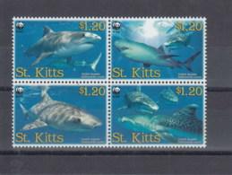 St.Kitts (BBK) Michel Cat.No. Mnh/** 955/958 Sharks - St.Kitts-et-Nevis ( 1983-...)