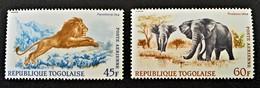 LION & ELEPHANTS 1967 - NEUFS ** - YT PA 81/82 - MI 604/05 - Togo (1960-...)