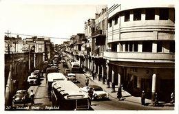 Iraq, BAGHDAD BAGDAD, Rasheed Street, Bus Car (1950s) RPPC Postcard - Iraq