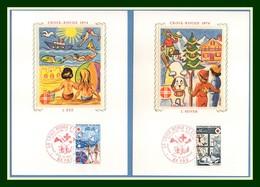 Carte Maximum Silk Soie France N° 1828 1829 Croix Rouge 1974 Chat Cat ...Red Cross - Croix-Rouge