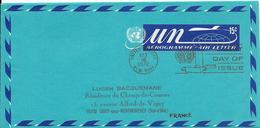 Onu, United Nations, Nations Unies,new York, Entier Postal 1972, Aérogramme  Fdc 15c, Air Letter, Par Avion, Avion - Lettres & Documents