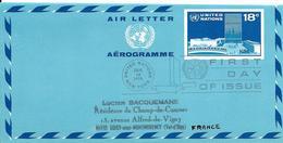 Onu, United Nations, Nations Unies,new York, Entier Postal 1975, Aérogramme  Fdc 18c, Air Letter, Par Avion, Headquarter - Lettres & Documents
