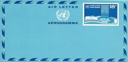 Onu, United Nations, Nations Unies,new York, Entier Postal 1975, Aérogramme Neuf 18c, Air Letter, Par Avion, Headquarter - New York -  VN Hauptquartier