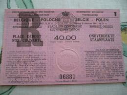 Football Voetbalbond 1967 Belgie Polen - Tickets - Vouchers