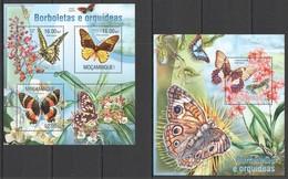 WW022 2013 MOZAMBIQUE MOCAMBIQUE FLORA & FAUNA FLOWERS BUTTERFLIES ORCHIDS KB+BL MNH - Papillons