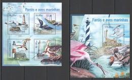WW025 2013 MOZAMBIQUE MOCAMBIQUE FAUNA MARINE LIFE LIGHTHOUSES WATER BIRDS KB+BL MNH - Oiseaux