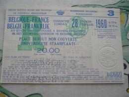 Football Voetbalbond 1960  Belgie Frankrijk - Tickets - Vouchers