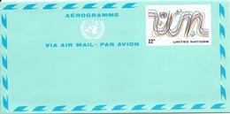 Onu, United Nations, Nations Unies,new York, Entier Postal 1977, Aérogramme Neuf 22c, Air Letter, Par Avion, Multicolore - New York -  VN Hauptquartier