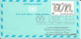 Onu, United Nations, Nations Unies,new York, Entier Postal 1977, Aérogramme Fdc 22c, Air Letter, Par Avion, Multicolore - Lettres & Documents
