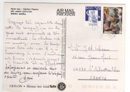 Beaux Timbres , Stamps , Sur Cp , Carte , Postcard - Sri Lanka (Ceylan) (1948-...)