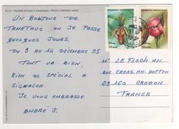"""Très Beaux Timbres """" Fleurs , Orchidées """", Stamps , Sur Cp , Carte , Postcard Du 13/12/1993 - Madagascar (1960-...)"""