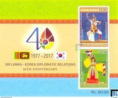 Sri Lanka Stamps 2017, Joint Issue, 40th South Korea Diplomatic Relations, MS - Sri Lanka (Ceylon) (1948-...)