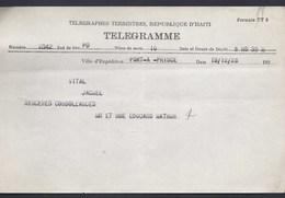 TELEGRAMME TELEGRAPHES TERRESTRES REPUBLIQUE HAITI PORT - AU - PRINCE 1928  VITAL JACMEL - Haïti