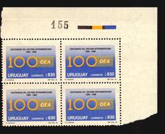 OEA ORGANIZACION ESTADOS AMERICANOS CATALOGUE VALUE $18 URUGUAY MNH BLOCK OF 4 - Uruguay
