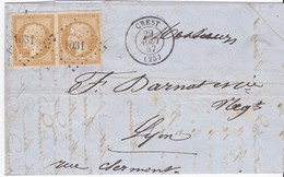 LAC - N°13A En Paire OBL. PC De CRESTN/ 29 AOUT 57 - Marcophilie (Lettres)