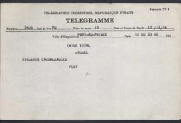 TELEGRAMME TELEGRAPHES TERRESTRES REPUBLIQUE HAITI PORT - AU - PRINCE DECEMBRE 1928  VITAL JACMEL PENY - Poste
