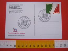 A.04 ITALIA ANNULLO - 2011 CASAPINTA BIELLA 150° UNITA' BANDIERA FLAG CARD: FESTA CIOCCOLATO CACAO GIOCO OCA - Flags