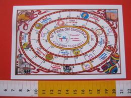 A.04 ITALIA ANNULLO - 2011 CASAPINTA BIELLA 150° UNITA' BANDIERA FLAG CARD: FESTA CIOCCOLATO CACAO GIOCO OCA - Cartoline