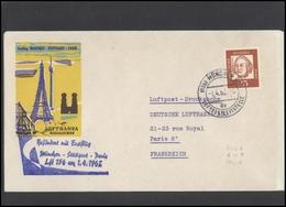 GERMANY Deutschland D BRD Brief LH 003 First Flight Muenchen-Stuttgart-Paris LUFTHANSA - BRD