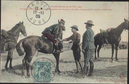 CPA Grandes Manœuvres Est 1905 Représentant Japonais Conversation Avec Général Chaffee CAD Bleu Troyes 10 11 05 YT 65 - Manovre