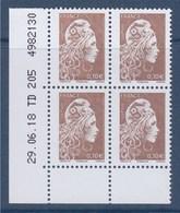 = Marianne L'Engagée 2018 Bloc X4 N°5250 Bas De Feuille Gauche 0.10 Neuf Type Gommé Coin Daté 29.06.18 TD 205 4982130 - 2018-... Marianne L'Engagée