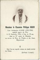 Faire Part Décès Mr Le Chanoine P. Ogier (1954), Curé Archiprêtre D'ANSE (69) - Décès