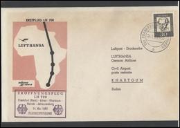 GERMANY Deutschland D BRD Brief LH 016 First Flight Frankfurt Athens Khartoum Nairobi Johannesburg LUFTHANSA - BRD