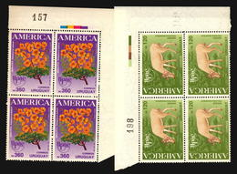 AMERICA UPAEP 1991 ARBOL FLORES FAUNA CIERVO TREE FLOWER DEER URUGUAY MNH BLOCK OF 4 - Emisiones Comunes