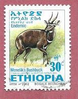 ETIOPIA USATO - 2002 - Menelik's Bushbuck (Tragelaphus Scriptus Meneliki) - 30 Cent - Michel ET 1756 - Ethiopia