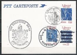France-USA. Mixed FDC Postal Card. Centenary Of The Statue Of Liberty. Joint Issue Of 1986 - Joint Issues