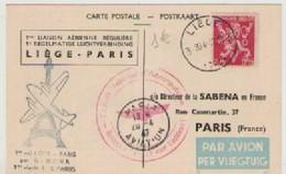 LIEGE  PARIS  1°  LIAISON  AERIENNE  REGULIERE - Belgique